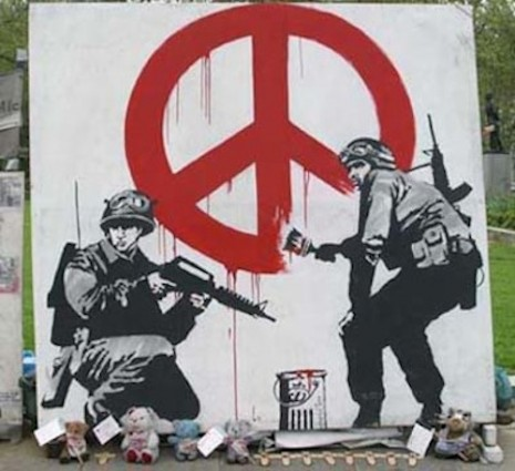 Bansky Soldiers Painting Peace